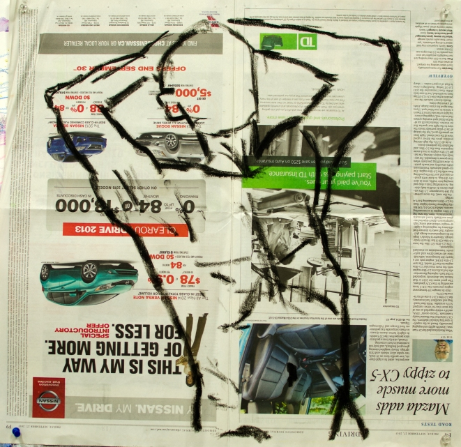 12 Nov 2013 Oil Stick on Newspaper Four