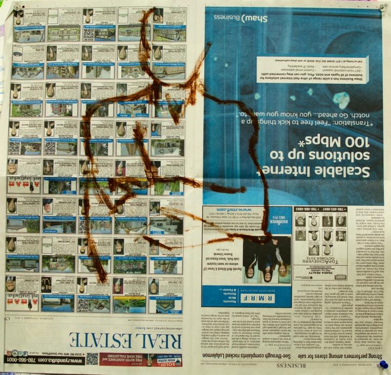 12 Nov 2013 Oil Stick on Newspaper Three