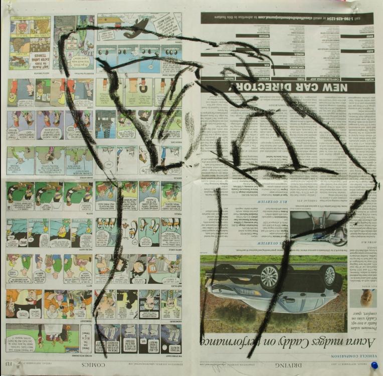 12 Nov 2013 Oil Stick on Newspaper