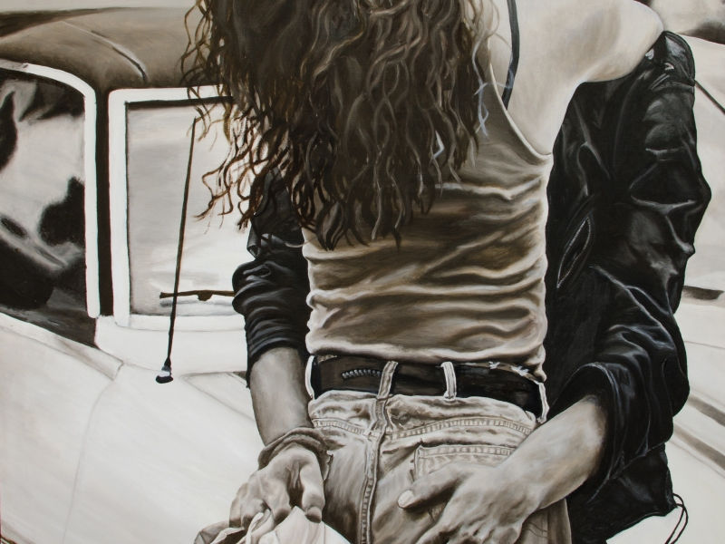 Oil painting of a girl, a guy and a pair of shoes