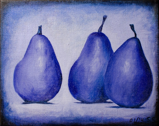 "Three Purple Pears, Jan 1, 2014, Acrylic on Canvas, 10"" X 8"""