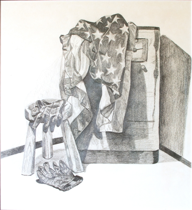 "American Gloves, Jan 1988, Graphite on Cartridge Paper, 13"" X 14"""