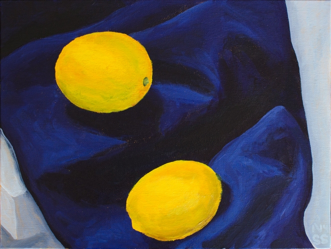 Lemons on Blue Drapery