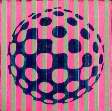 "Pink Stripes WIPB, Feb 7, 2016, Acrylic & Oil on Canvas, 6"" X 6"""