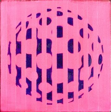 "Pink Stripes, Feb 7, 2016, Acrylic & Oil on Canvas, 6"" X 6"""