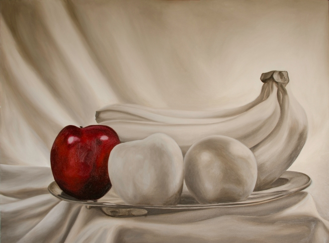"Still Life Red WIP, Mar 27, 2016, Oil on Canvas, 48"" X 36"""