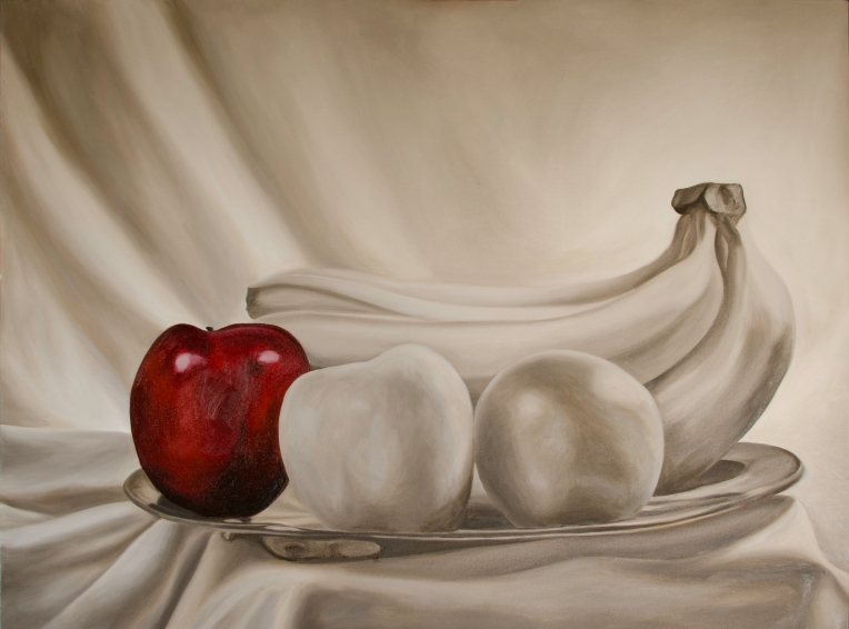 """Still Life Red WIP, Mar 27, 2016, Oil on Canvas, 48"""" X 36"""""""