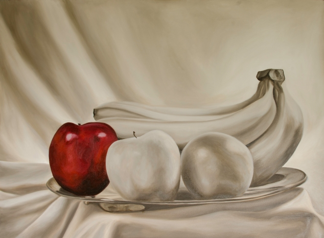 "Still Life Red, May 23, 2016, Oil on Canvas, 48"" X 36"""