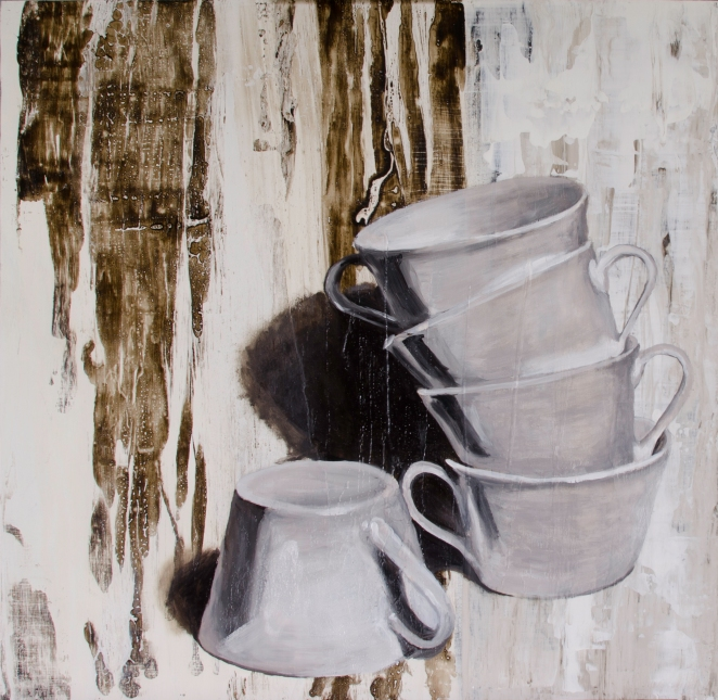 "Cowering Cups, May 28, 2016, Mixed Media on Panel, 20"" X 20"""