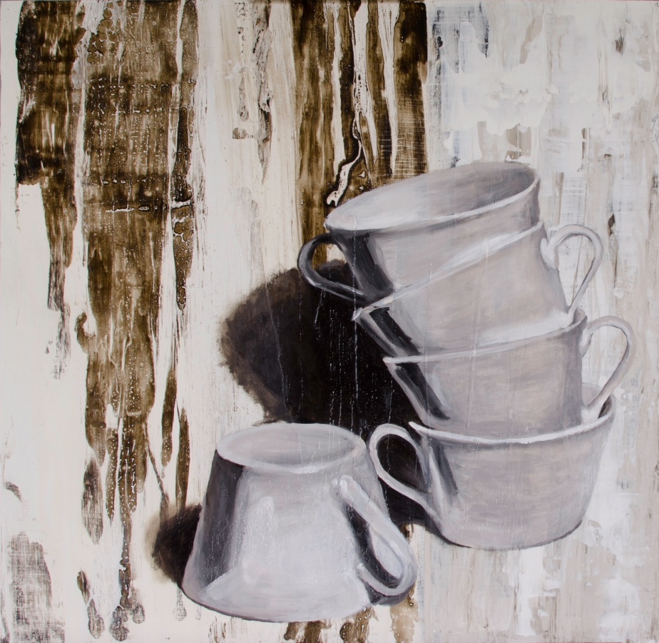 """Cowering Cups, May 28, 2016, Mixed Media on Panel, 20"""" X 20"""""""