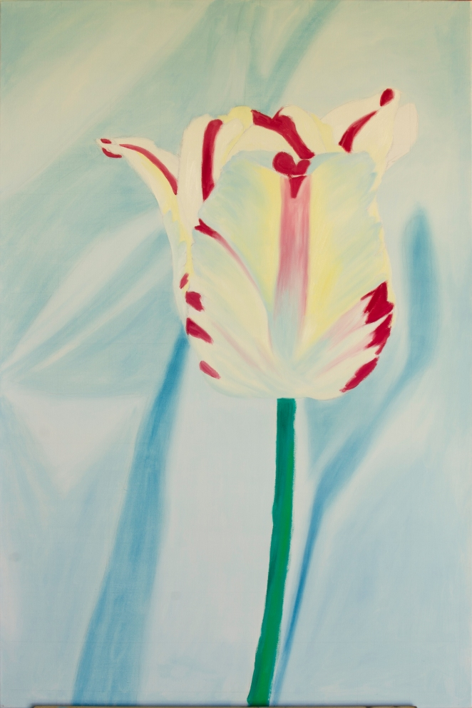 "Vertical Tulip WIP, Jun 12, 2016, Oil on Canvas, 24"" X 36"""