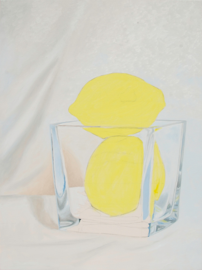 Oil painting in progress of two lemons in a glass vase.
