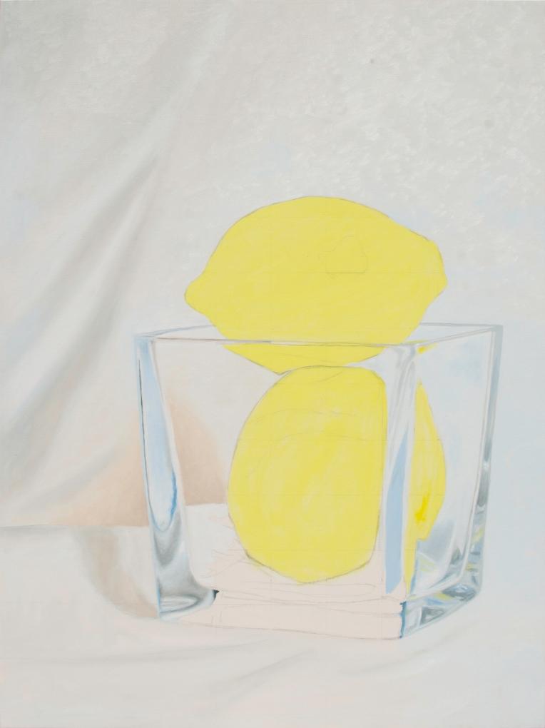 Oil painting in progress of two lemons in a glass vase.