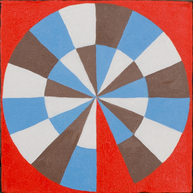Oil painting of a circular geometric composition