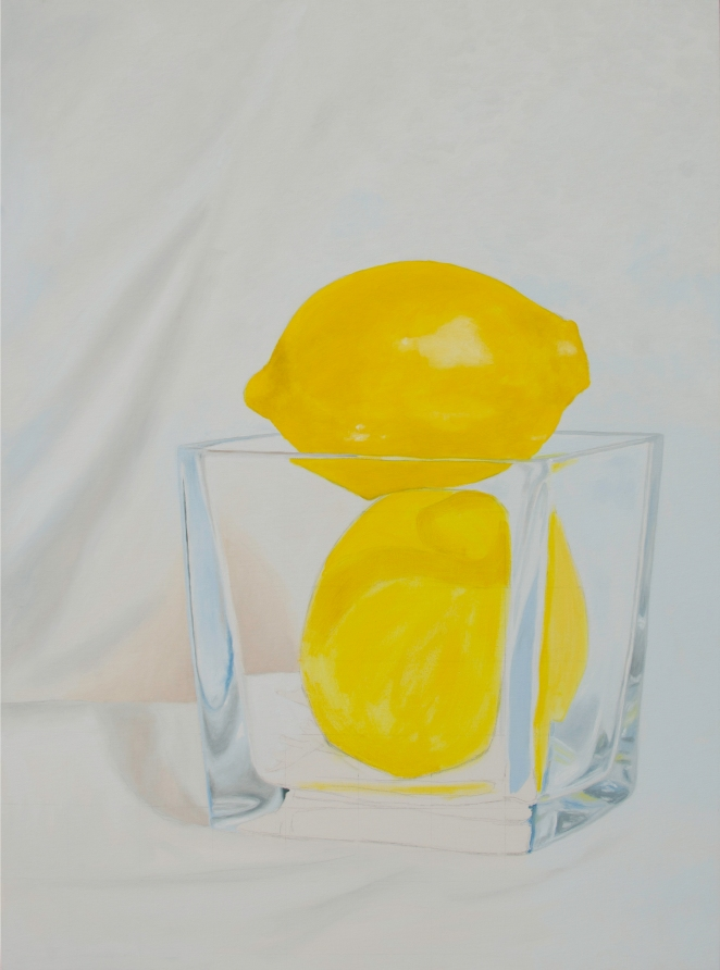 Oil painting in progress of two lemons in a glass vase