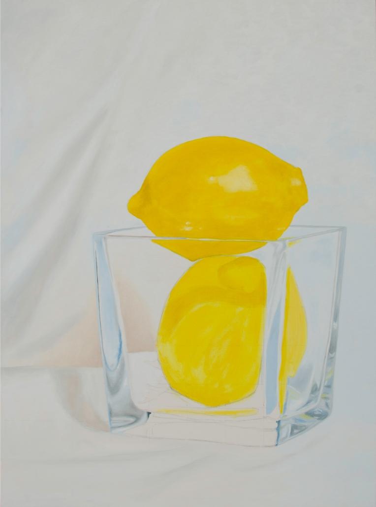 Oil painting in progress of two lemons in a glass vase
