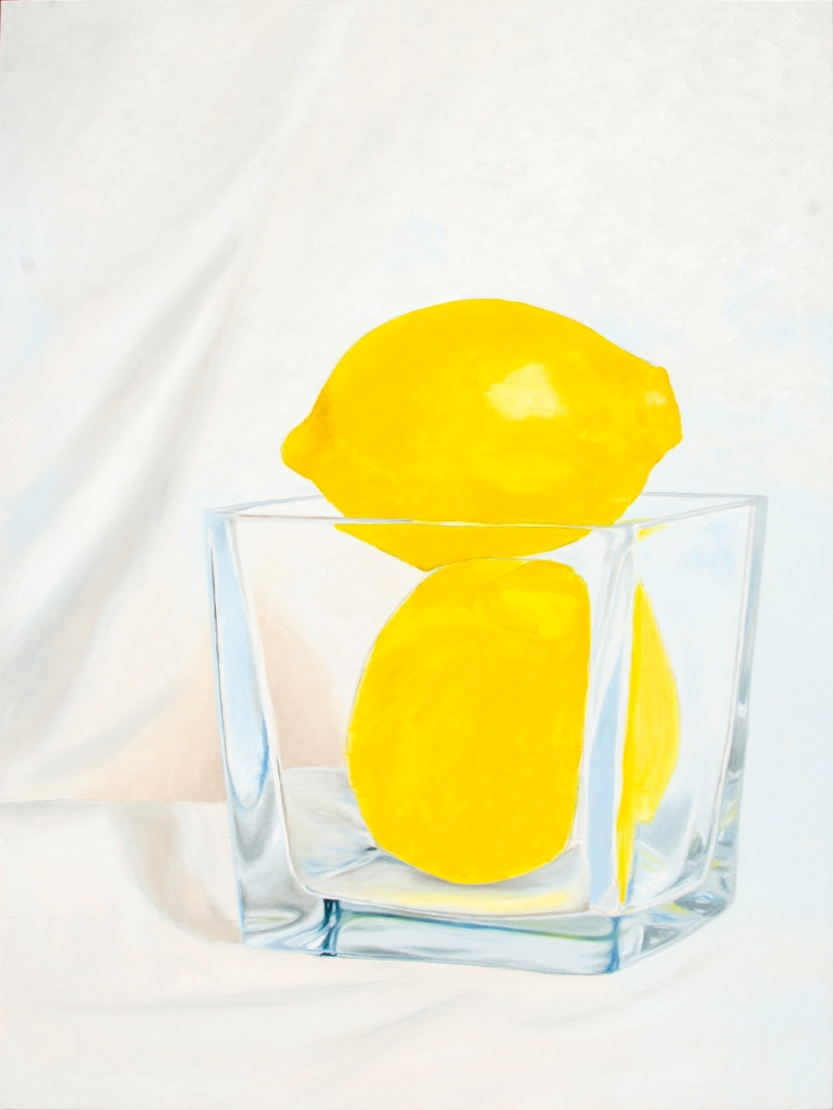 Oil painting in progress of a two lemons in a vase