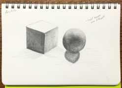 drawing of a cube and a sphere
