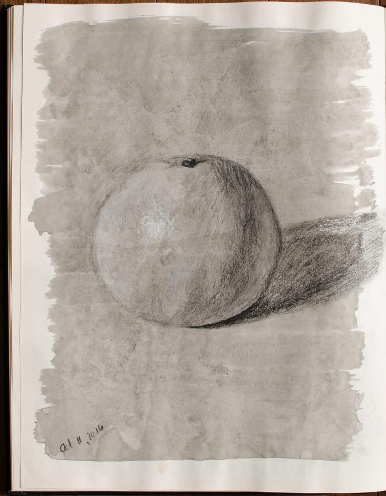 "Sketchbook Orange, Oct 11, 2016, Graphite & India Ink on Paper, 10.5"" X 13.5"""