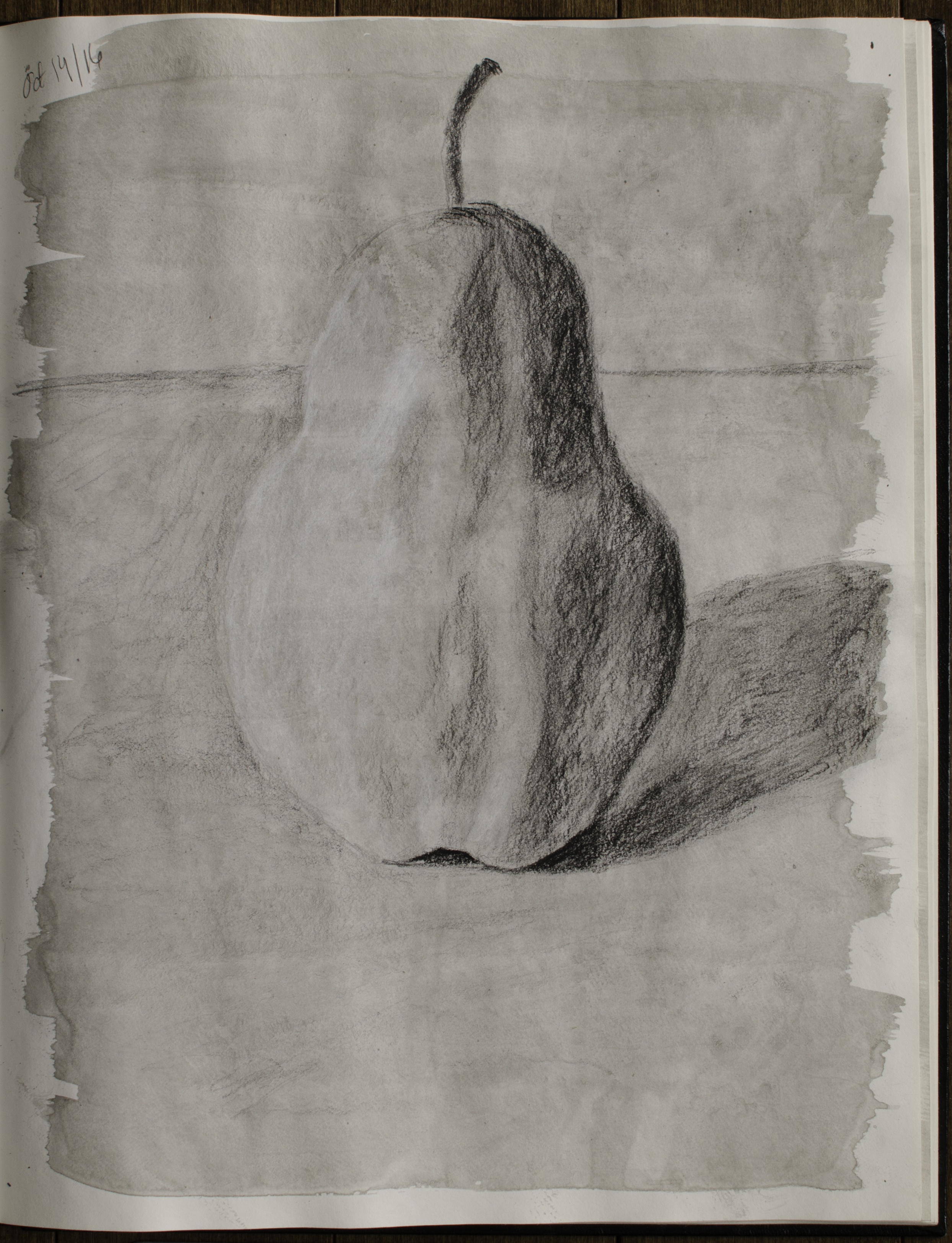 "Sketchbook Pear, Oct 14, 2016, Charcoal & India Ink on Paper, 10.5"" X 13.5"""