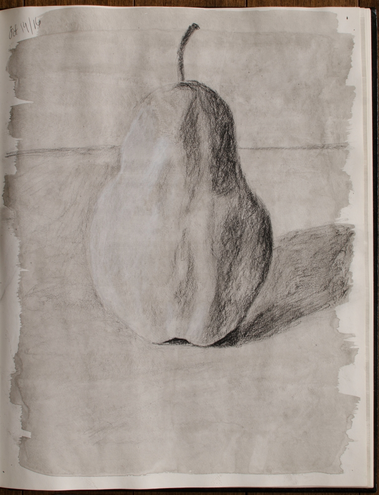 """Sketchbook Pear, Oct 14, 2016, Charcoal & India Ink on Paper, 10.5"""" X 13.5"""""""
