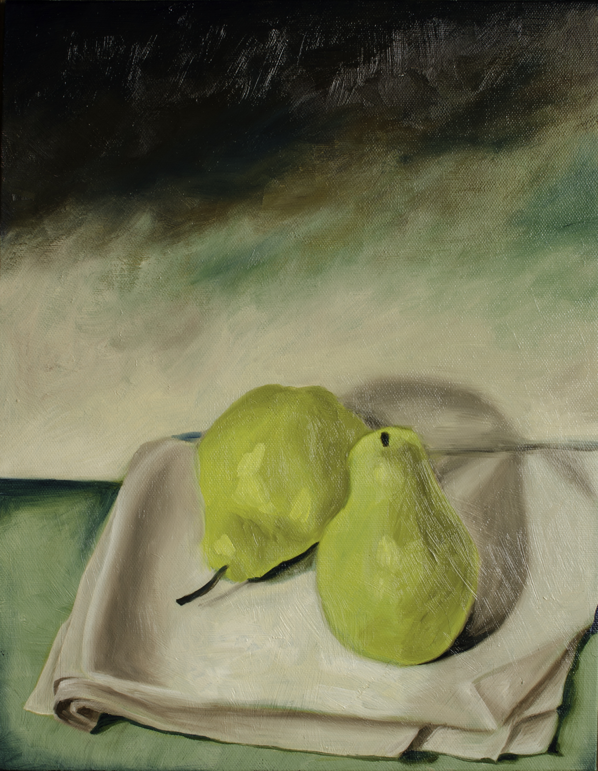 "Reclaimed Pears, Oct 15, 2016, Oil on Canvas Board, 11"" X 14"""