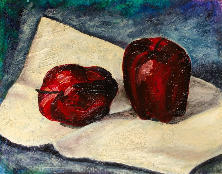 """Moderately Reclaimed Apples, Oct 22, 2016, Oil on Canvas Board, 14"""" X 11"""""""