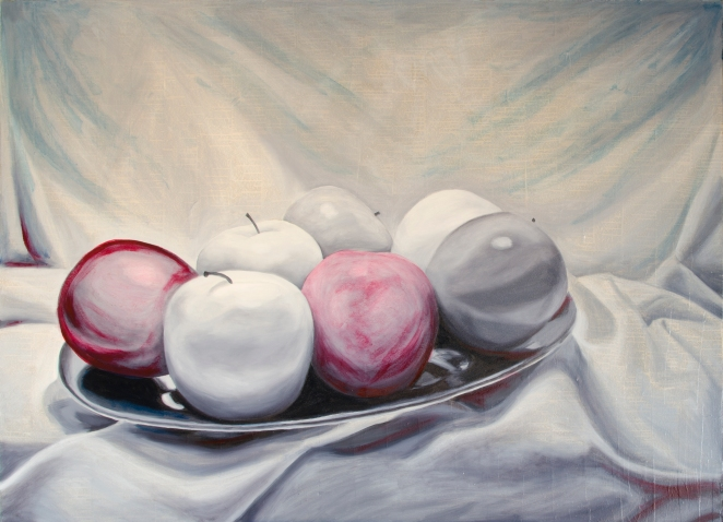 "Seven Apples, Dec 17, 2016, Oil on Canvas, 48"" X 36"""