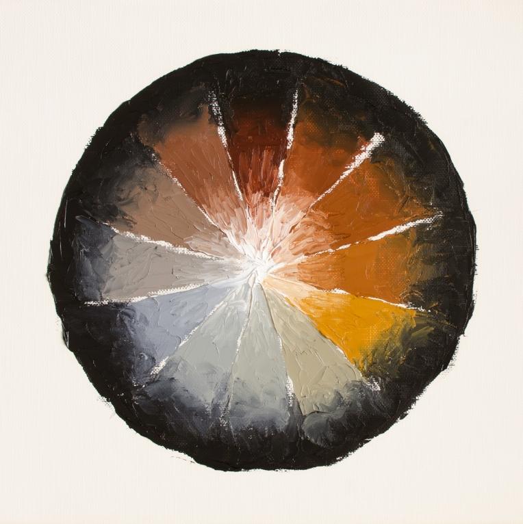 "Colour Wheel 1, Mar 18, 2017, Oil on Canvas Paper, 12"" X 12"""