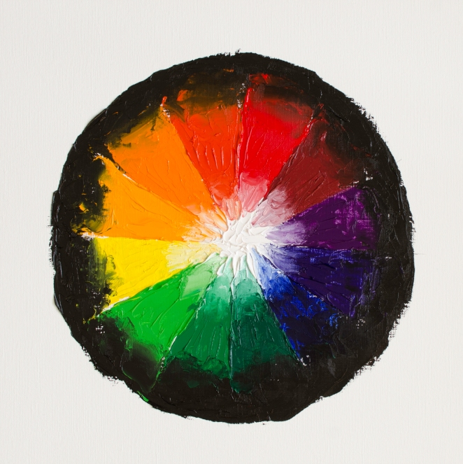 "Colour Wheel 2, Mar 18, 2017, Oil on Canvas Paper, 12"" X 12"""