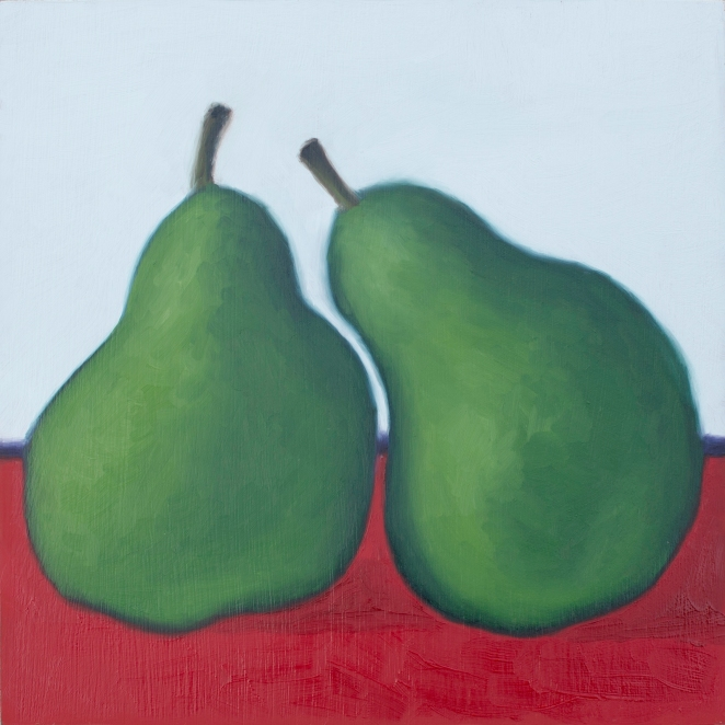 "Couple of Pears, Aug 12, 2017, Oil on Panel, 8"" X 8"""