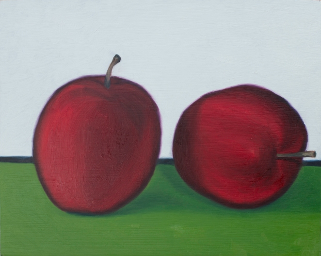 "Couple of Apples, Aug 19, 2017, Oil on Panel, 10"" X 8"""