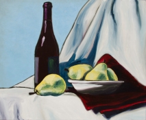 "Wine & Pears Two, Oct 21, 2017, Oil on Panel, 20"" X 16"""