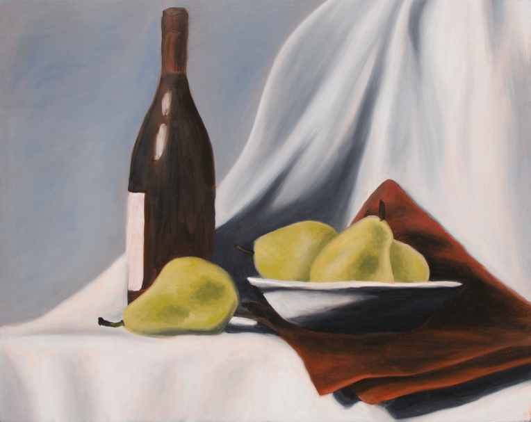 """Wine & Pears One, Oct 7, 2017, Oil on Panel, 20"""" X 16"""""""