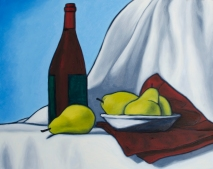 "Wine & Pears Three, Jan 14, 2018, Oil on Panel, 20"" X 16"""