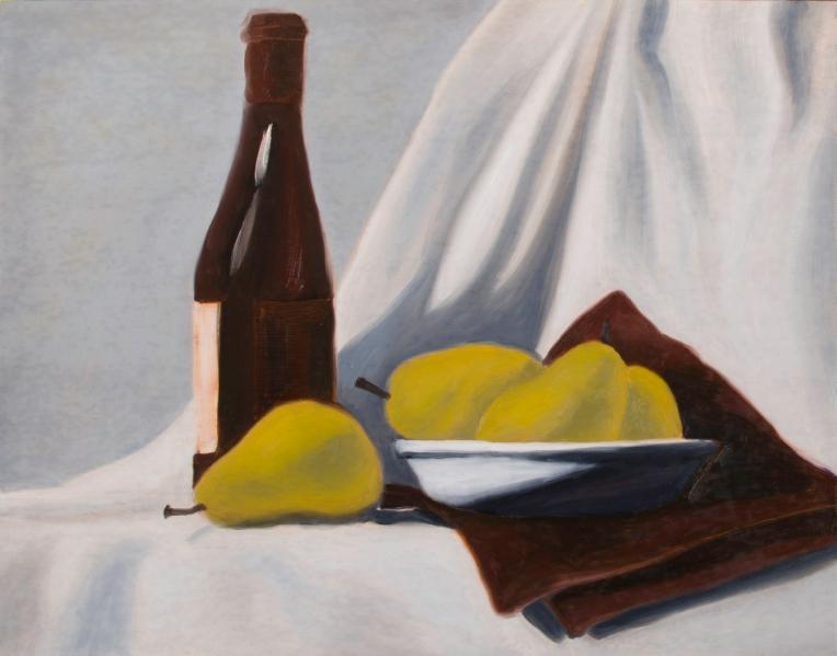 "Wine & Pears Four, Jan 28, 2018, Oil on Panel, 20"" X 16"""