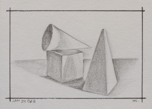 "Jan 24, 2018, Graphite on Strathmore 300 Series Watercolour, 7"" X 5"""