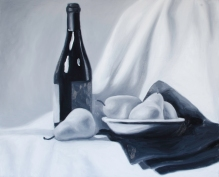 "Wine & Pears Five, Feb 19, 2018, Oil on Panel, 20"" X 16"""