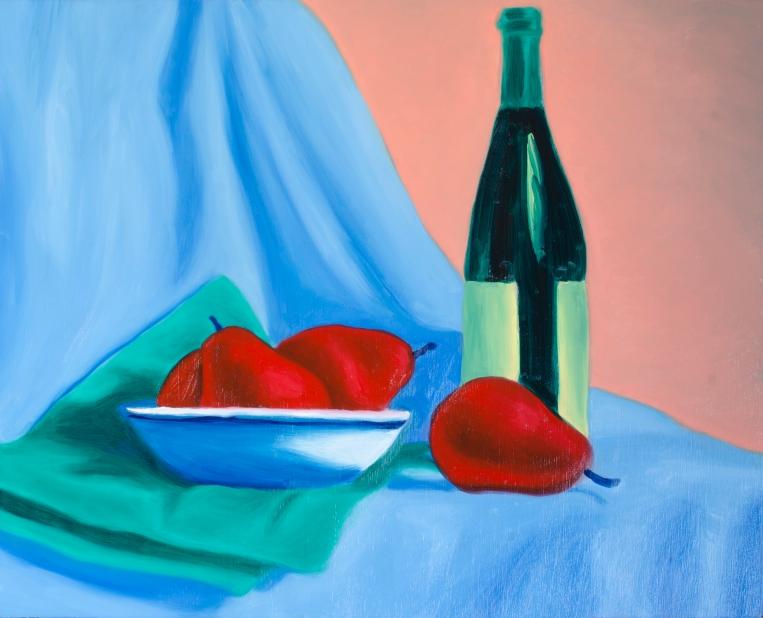 """Wine & Pears Six, Mar 3, 2018, Oil on Panel, 20"""" X 16"""""""