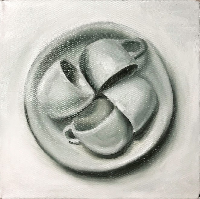 "Four Cups, May 6, 2018, Oil on Canvas, 8"" X 8"""