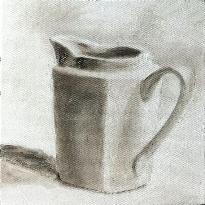 "Cream Pitcher, May 27, 2018, Oil on Canvas, 8"" X 8"""
