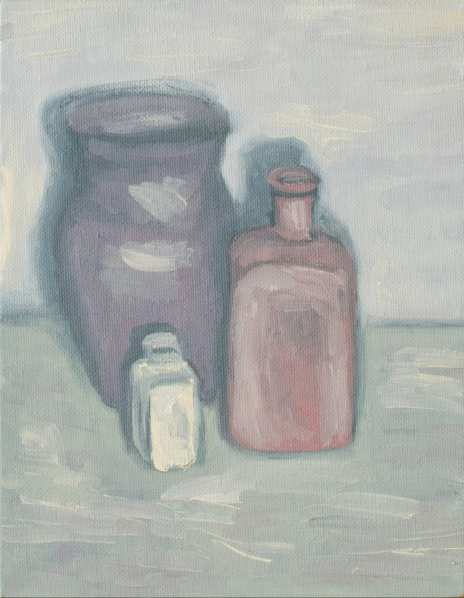 "Vase Family, Sep 3, 2018, Oil on Canvas Board, 7"" X 9"""