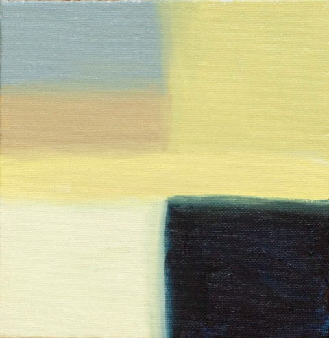 "Abstract Blue Corner, Sep 16, 2018, Oil on Canvas Board, 6"" X 6"""