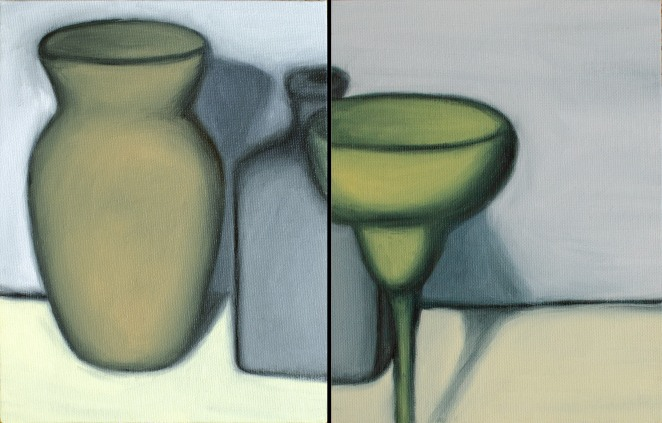 "Outlined Vase Family, Sep 16, 2018, Oil on Canvas Board, 2 pcs, each 7"" X 9"""