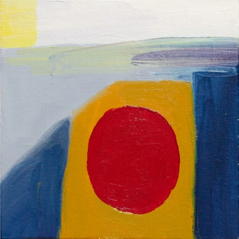 "Abstract Red Circle, Sep 30, 2018, Oil on Canvas Board, 6"" X 6"""