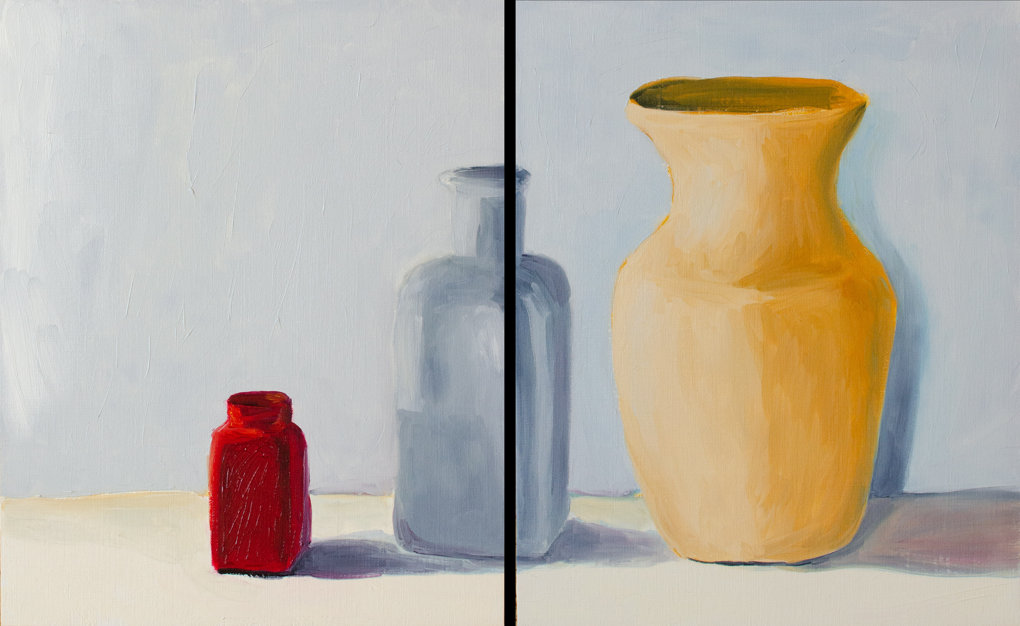"Red Bottle, Sep 30, 2018, Oil on Canvas Board, 2 pcs, each 8"" X 10"""
