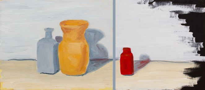 """Separate, Oct 13, 2018, Oil on Panel, 2 pcs left 10"""" X 8"""", right 8"""" X 8"""""""