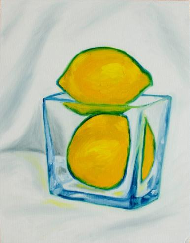 "Quick Lemons, Nov 17, 2018, Oil on Canvas Board, 11"" X 14"""